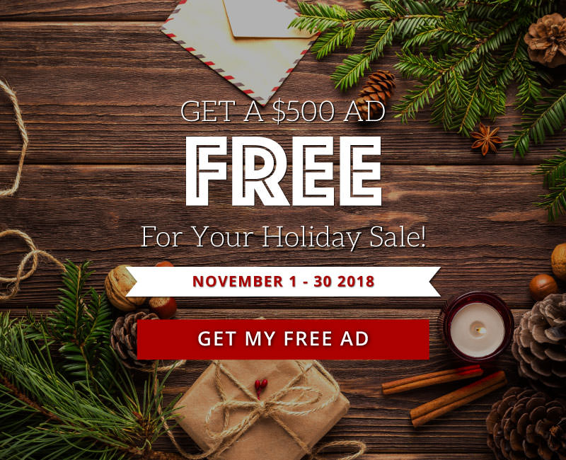 Get A $500 Banner Ad FREE For Your Holiday Sale!